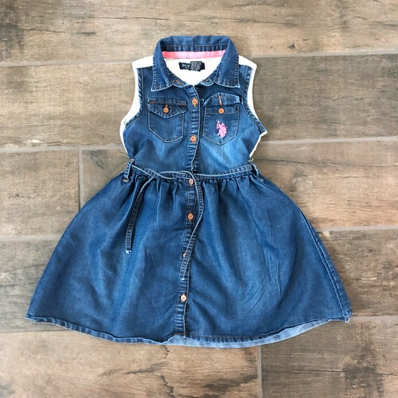 US Polo Assn Baby Girl Denim Chambray Ruffle Dress Bloomers Size 12 18 24 Months
